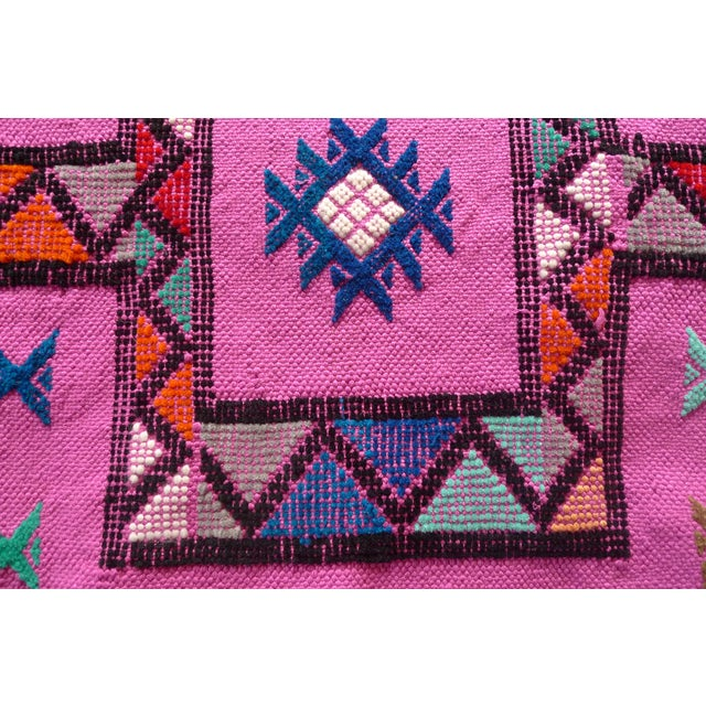 Image of MoroccanTribal Motif Small Pink Rug - 1′6″ × 3′