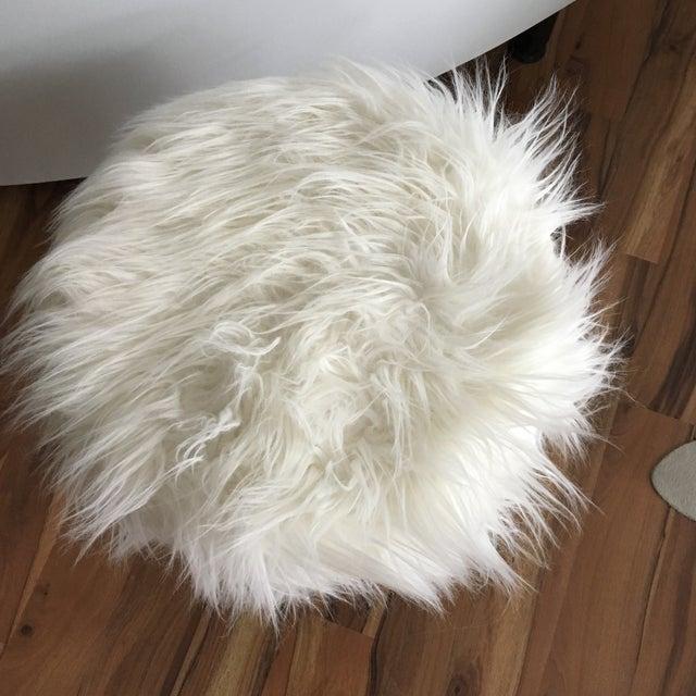 Vintage White Fluffy Stool Chairish