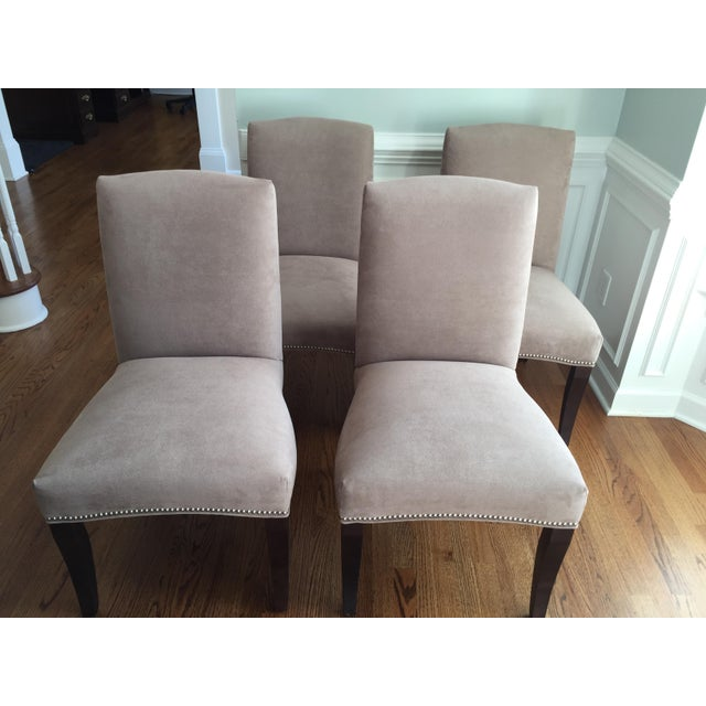 Lee Industries Upholstered Dining Chairs With Accent Fabric on Back - Set of 4 - Image 3 of 12