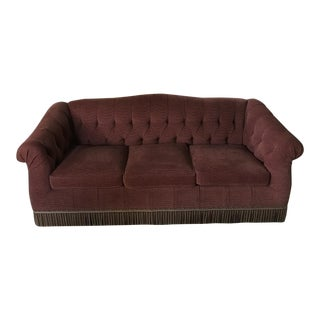 Edward Ferrell Red Chenille Tufted Sofa