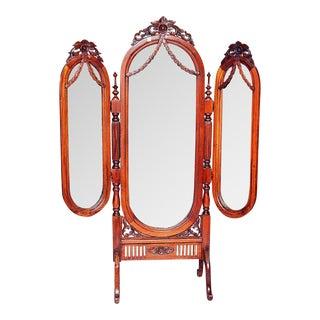 Tri-Fold Mahogany Cheval Mirror