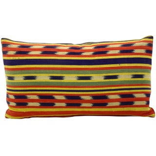 Vintage Bolivian Ikat Bolster Pillow