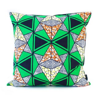 African Square Pillow Cover - Green