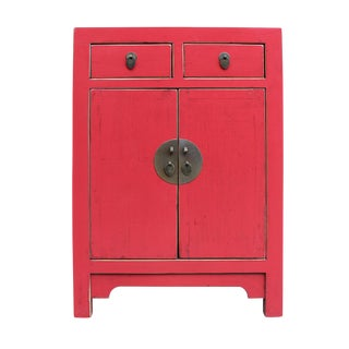 Chinese Oriental Distressed Pink End Table Nightstand