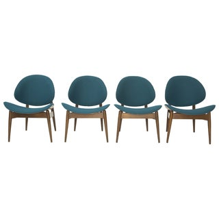 Kodawood Bentwood Clam Teal Chairs - Set of 4