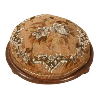 Antique English Hand Beaded Tuffet