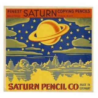 Vintage 'Saturn Pencil Label' Archival Print