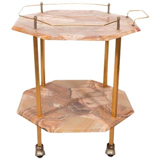 MIDCENTURY TWO-TIERED AGATE COCKTAIL CART