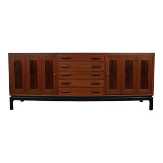 Mid-Century Modern Walnut and Rosewood Credenza