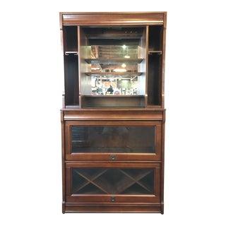 Pottery Barn Laminate Walnut, Glass & Mirrored Lawyer Bar Hutch