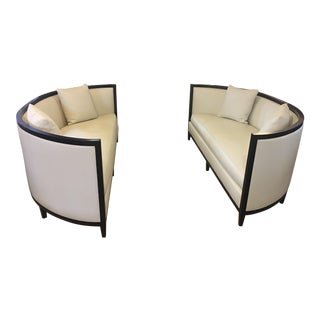 Custom Demi-Lune Shaped Sofas - A Pair