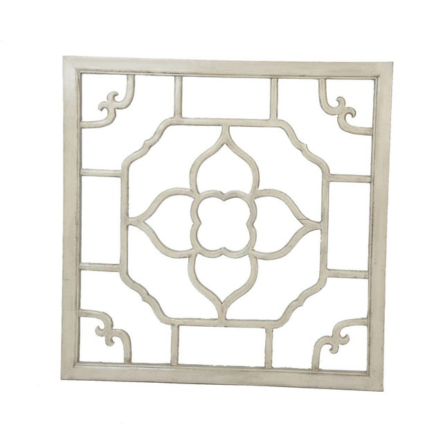 """Ivory Lacquered Floral Screen - 30"""" x 30"""" - Image 2 of 2"""