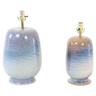 Glazed Mid-Century Lamps - A Pair