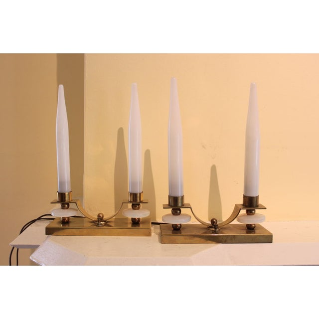 Jacques Adnet Brass Glass Candlestick Lamp - Pair - Image 5 of 5