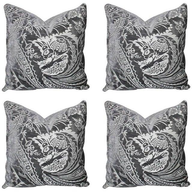 Charcoal Silk/Velvet Pillows - Set of 4 - Image 1 of 6