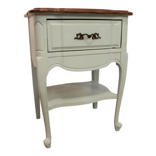 French Country Kling Blue Chalk Painted Nightstand