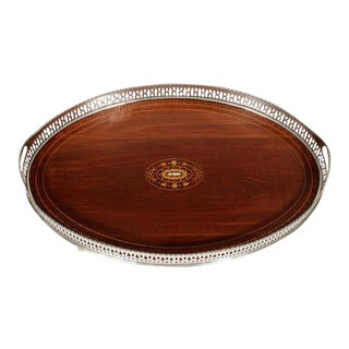 Large Mahogany Oval Serving Tray with Reticulated Gallery
