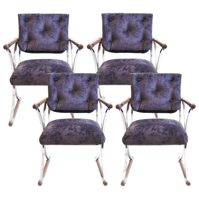 Purple Kitchen Chairs: Cleo Baldon Purple Campaign Dining Chairs - 4