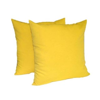 Yellow Solid Outdoor Square Pillows - A Pair