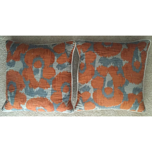 Orange & Gray Linen Pillows - A Pair - Image 5 of 6