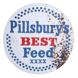 1950s Vintage Pillsbury's Best Metal Feed Sign