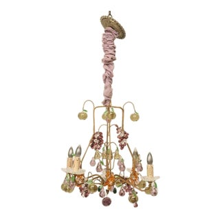 French Four-Light Crystal Fruit Chandelier, circa 1920