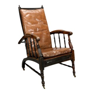 19th Century Leather Upholstered Armchair With Turned Joints