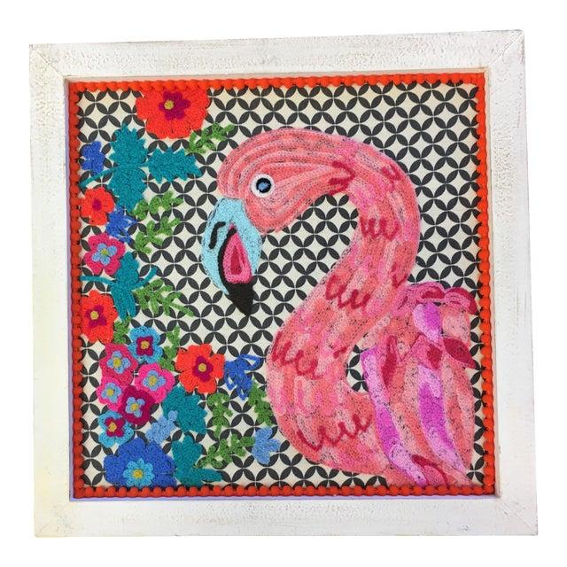 Flamingo Textile Art - Image 1 of 4
