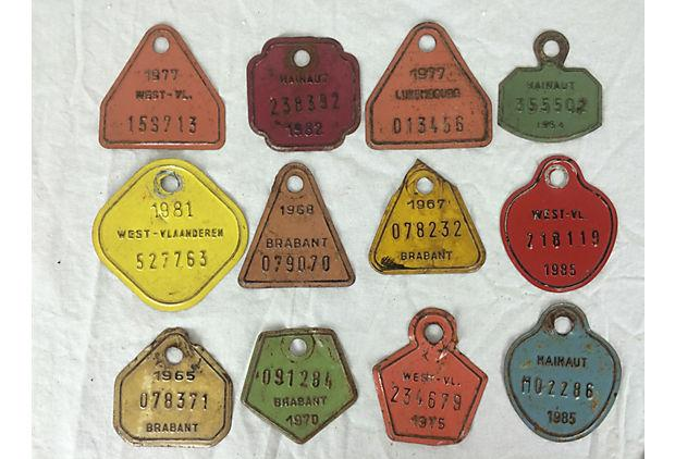 European Metal Bicycle Tags Set Of 12 Chairish