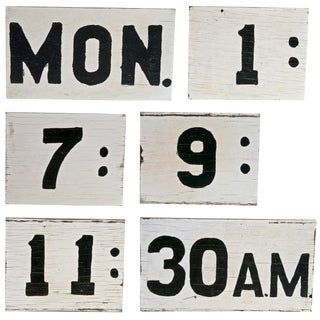 Two-Sided Handmade Wood Time and Day Signs - S/6