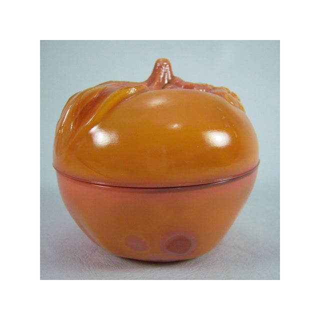 Slag Glass Peach Shaped Box Vintage - Image 5 of 8