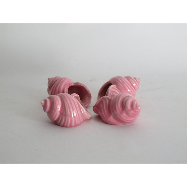 Image of Pink Ceramic Shell Napkin Rings - Set of 4