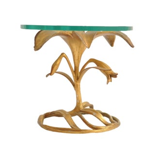Brass and Glass Flower Side Table