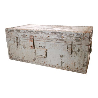 Vintage Gray Military Metal Storage Chest