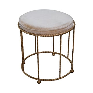 Italian Hollywood Regency Gilt Metal Vanity Stool