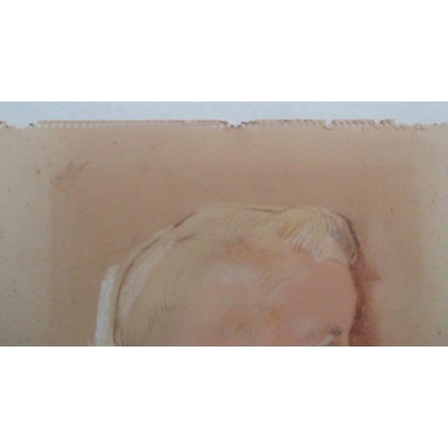 Vintage Pastel Portrait of a Blond Boy - Image 5 of 6