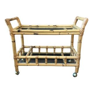 Boho Bamboo & Glass Bar Cart