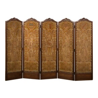 """Régence Style Antique French Five Panel Walnut Needlepoint Screen (""""paravent""""), circa 1875"""