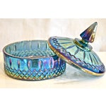 Image of Blue Luster Lidded Carnival Glass Bowl