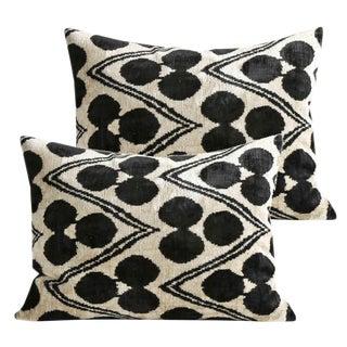 Graphite and Cream Silk Velvet Pillows - A Pair