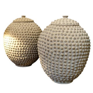 Pair Textured Lidded Vases, Africa, 1930s