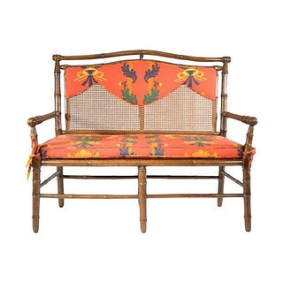 Vintage English Caned-Back Bamboo Settee