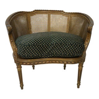 Gold Regency Style Caned Arm Chair