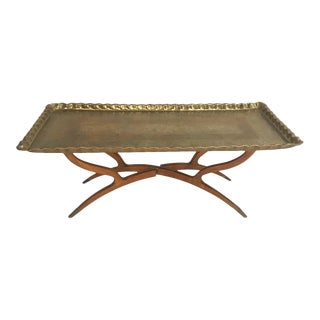 Mid-Century Moroccan Style Etched Brass Tray Coffee Table