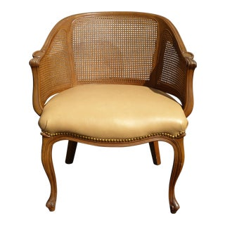 Vintage French Style Cane & Leather Accent Chair