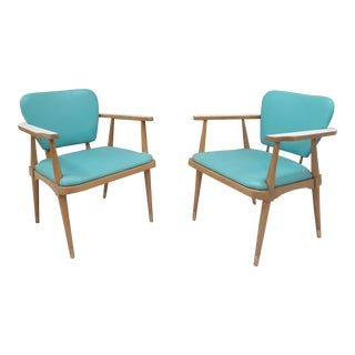 Mid-Century Turquoise Side Chairs - A Pair