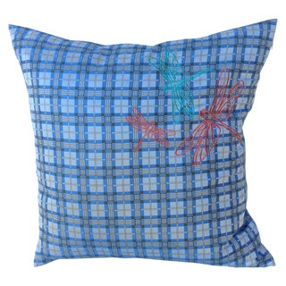 Plaid Embroidered Dragonfly Pillow