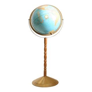 Vintage Revolving World Globe with Wood Pedestal Stand