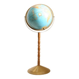 Vintage Revolving World Globe with Wood Pedestal Stand