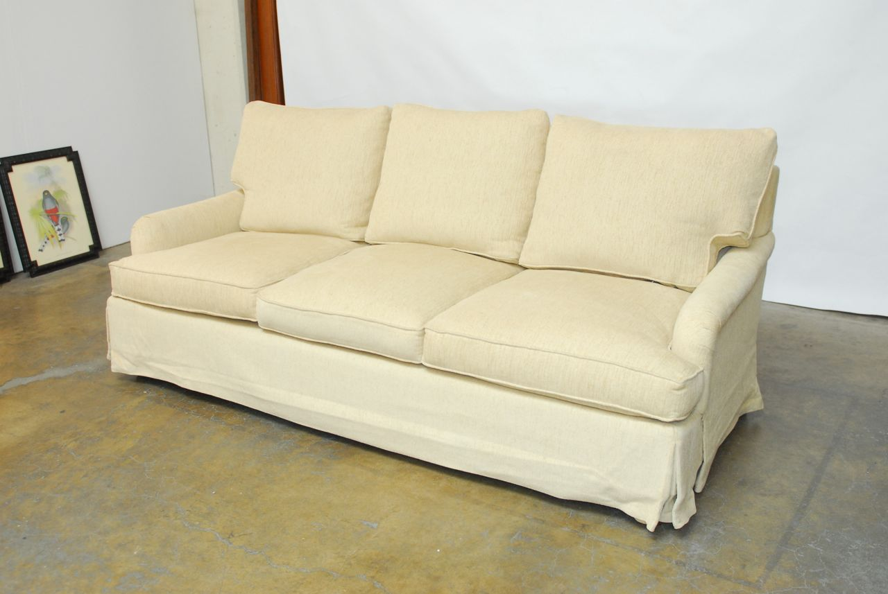 Chenille Skirted Sofa: English Roll Arm Chenille Sofa